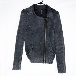 Free People Gray Moto Zip Up Sweater Jacket M